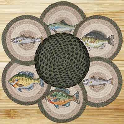 Fish Braided Jute Trivet Set