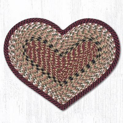Burgundy and Mustard Cotton Braid Placemat - Heart