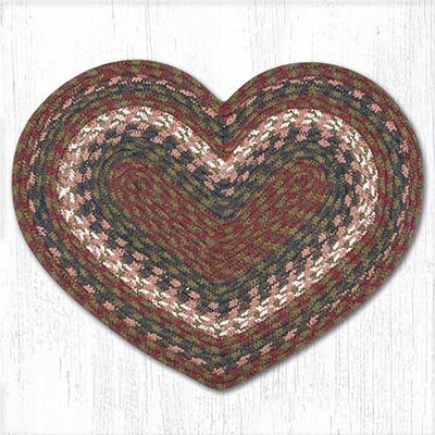 Burgundy and Gray Cotton Braid Placemat - Heart