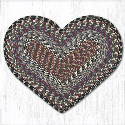 Burgundy, Blue, and Gray Cotton Braid Placemat - Heart