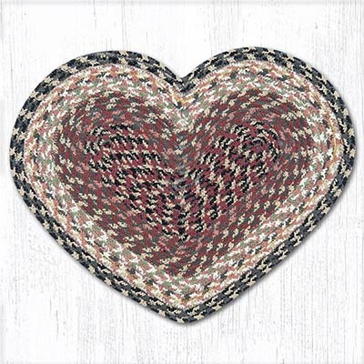 Burgundy, Gray, and Creme Cotton Braid Placemat - Heart
