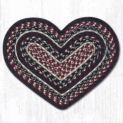 Burgundy, Black, and Tan Cotton Braid Placemat - Heart