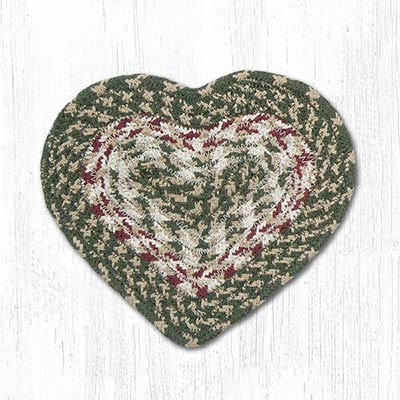 Green and Burgundy Cotton Braid Trivet - Heart