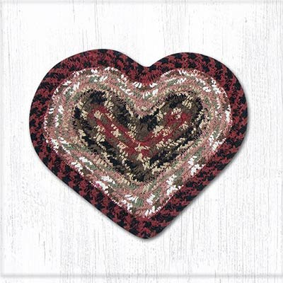 Burgundy and Mustard Cotton Braid Trivet - Heart