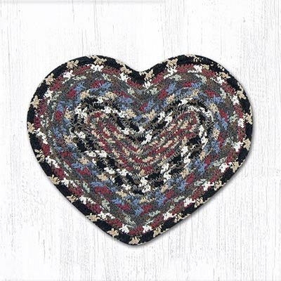Burgundy, Blue, and Gray Cotton Braid Trivet - Heart