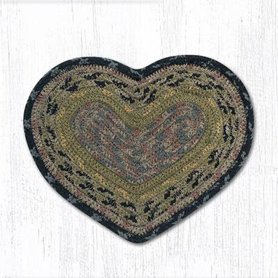 Brown, Black, and Charcoal Cotton Braid Trivet - Heart