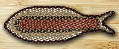 Burgundy and Mustard Fish Shaped Braided Rug