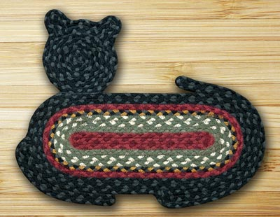 Burgundy, Olive, and Charcoal Cat Shaped Rug