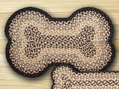 Chocolate and Natural Braided Dog Bone Rug - Large