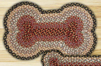 Burgundy, Gray, and Creme Braided Dog Bone Rug - Large