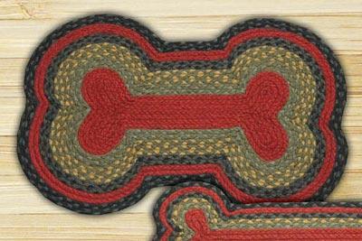 Burgundy, Olive, and Charcoal Braided Dog Bone Rug - Large