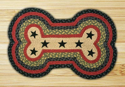 Burgundy, Olive, and Charcoal with Stars Braided Dog Bone Rug - Large