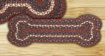 Burgundy and Gray Braided Dog Bone Rug - Small