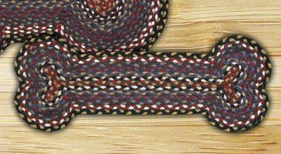 Burgundy, Blue, and Gray Braided Dog Bone Rug - Small