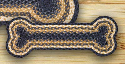 Light Blue, Dark Blue, and Mustard Braided Dog Bone Rug - Small