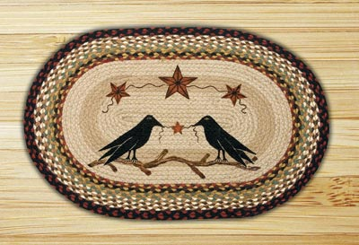 Crow & Barn Stars Oval Patch Braided Rug
