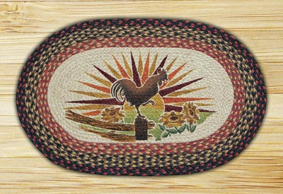 Rooster Oval Patch Braided Rug