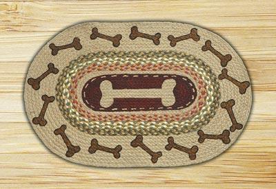 Dog Bones Oval Patch Braided Rug