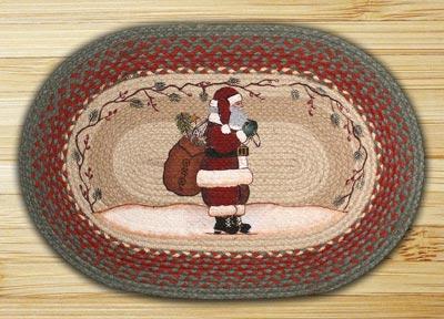 Santa Oval Patch Braided Rug