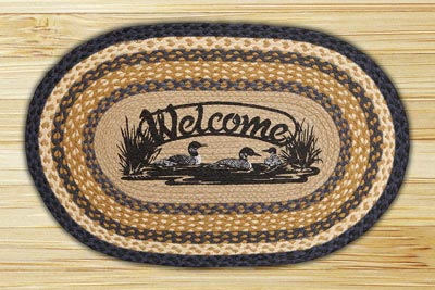 Welcome Loons Oval Patch Braided Rug