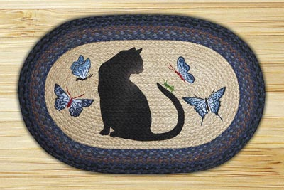 Cat and Grasshopper Oval Patch Braided Rug