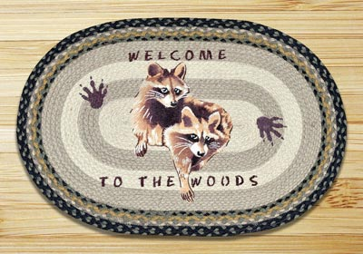 Raccoon Welcome Oval Patch Braided Rug