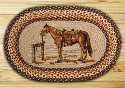 Horse Oval Patch Braided Rug