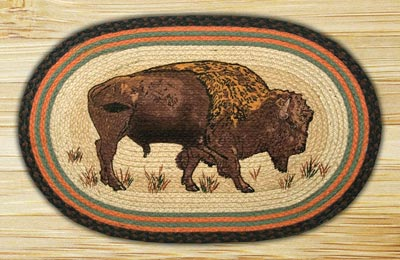 Buffalo Oval Patch Braided Rug