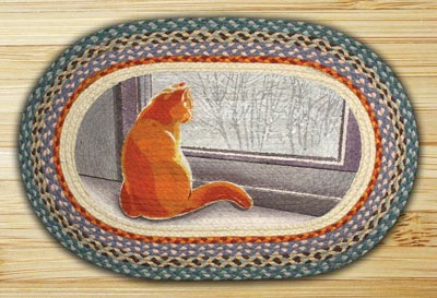 Winter Cat Oval Patch Braided Rug