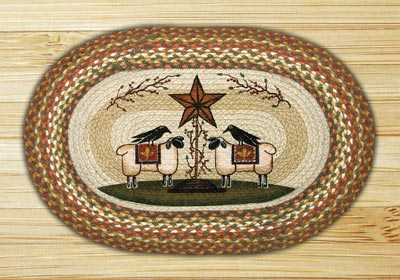 Sheep & Barn Star Oval Patch Braided Rug