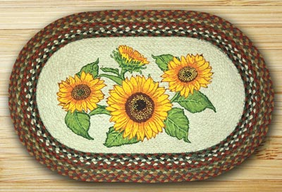 Sunflowers Oval Patch Braided Rug