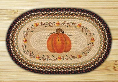 Pumpkin Candy Corn Oval Patch Braided Rug