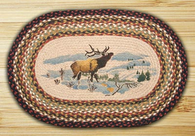 Winter Elk Oval Patch Braided Rug