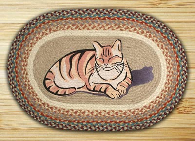 Cat Nap Oval Patch Braided Rug