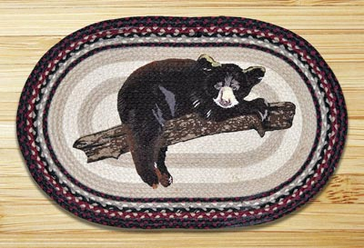 Baby Bear Oval Patch Braided Rug