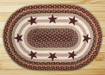 Burgundy Stars Oval Patch Braided Rug