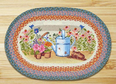 Planting Time Oval Patch Braided Rug