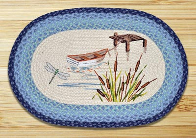 Lake Boat Oval Patch Braided Rug
