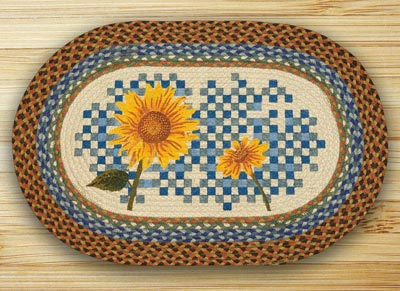 Heirloom Sunflower Oval Patch Braided Rug
