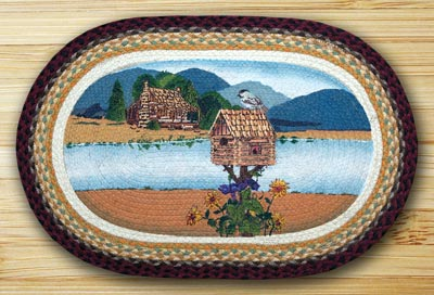 Cabin Lake Oval Patch Braided Rug