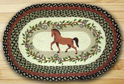 Horse Oak Leaf Oval Patch Braided Rug