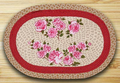 French Rose Oval Patch Rug