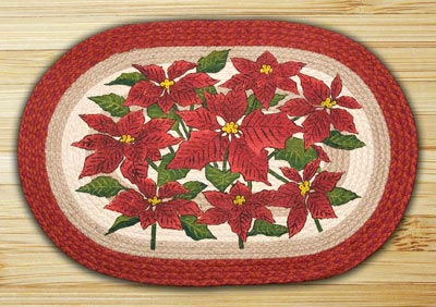 Poinsettia Oval Patch Braided Rug