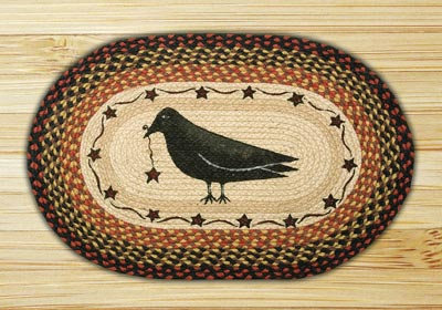 Crow & Star Oval Patch Braided Rug