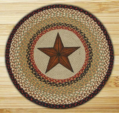 Barn Star Round Braided Rug