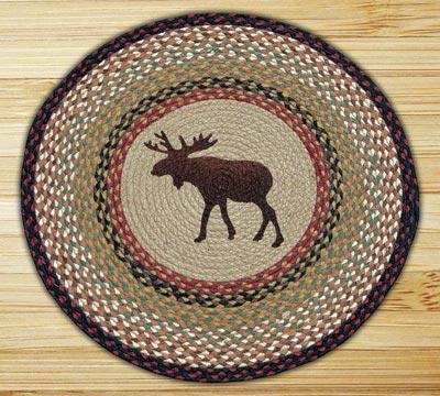 Moose Round Braided Rug