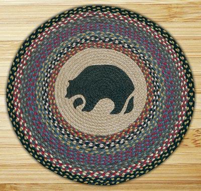Black Bear Round Braided Rug