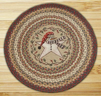 Snow Star Round Braided Rug