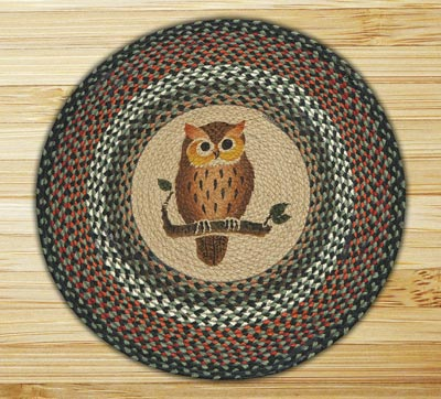 Owl Round Braided Rug