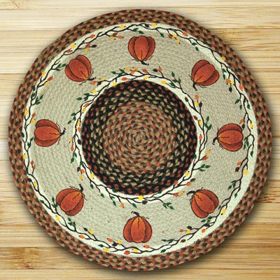 Harvest Pumpkin Round Braided Rug